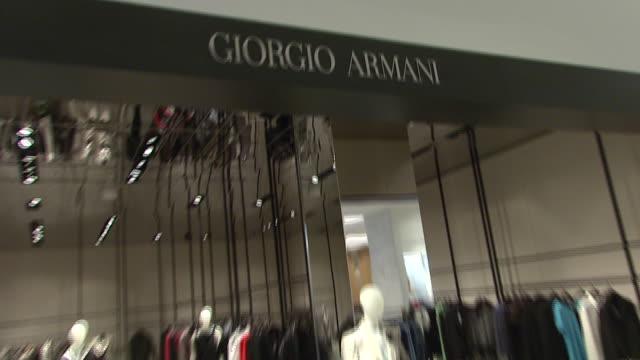 vídeos de stock, filmes e b-roll de november 27 2009 zi the giorgio armani department in neiman marcus / united states - giorgio armani marca de moda