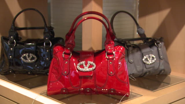 november 27 2009 ha three purses on display in neiman marcus / united states - neiman marcus stock videos & royalty-free footage