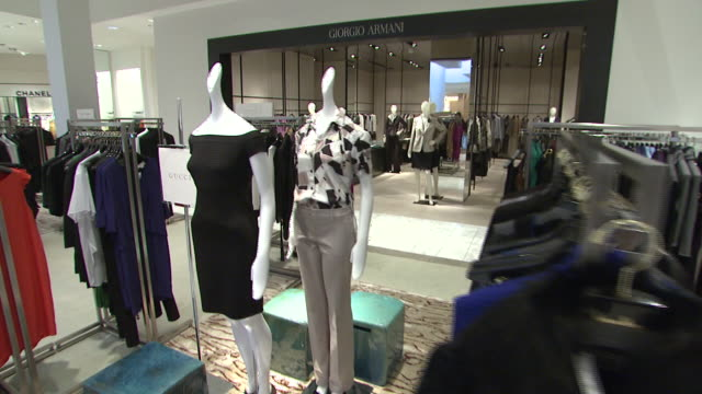 november 27 2009 pov women's dresses and suits on display in neiman marcus / united states - neiman marcus stock videos & royalty-free footage