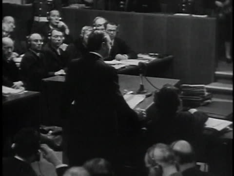 november 29 1945 montage prosecutor robert jackson giving opening statement during prosecution of nazis / nuremberg germany - staatsanwalt stock-videos und b-roll-filmmaterial