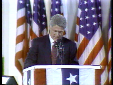 november 4, 1992 bill clinton victory speech - 'the american people have voted to make a new beginning.'/ little rock, arkansas/ audio - 1992 stock videos & royalty-free footage