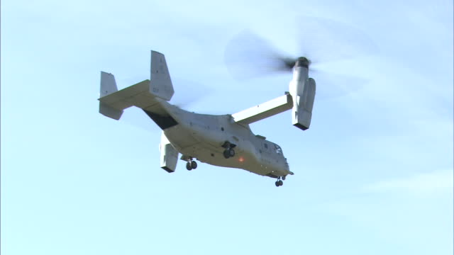 november 8 2014 an american military aircraft mv22 called osprey flying in the air during the disaster drill 'michinoku alert 2014' conducted by... - practice drill stock videos & royalty-free footage