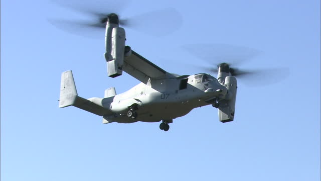 november 8 2014 an american military aircraft mv22 called osprey flying in the air during the disaster drill 'michinoku alert 2014' conducted by... - osprey stock videos & royalty-free footage