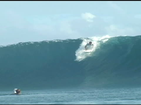 vidéos et rushes de november 9, 2009 professional surfer dropping in and quickly riding out and over the lip of a wave front side - bouche humaine