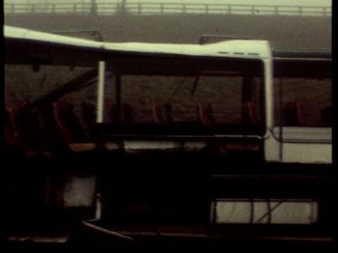 vídeos y material grabado en eventos de stock de november in 1974 judith ward was falsely imprisoned yorkshire ext wreckage of bombed coach on motorway lib london royal courts of justice judith ward... - 1974