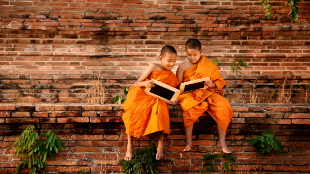 novice and his friend hold slate - buddhism stock videos & royalty-free footage