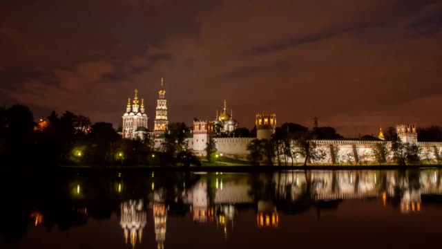 tl novodevichy convent, night view / russia, moscow - convent stock videos & royalty-free footage