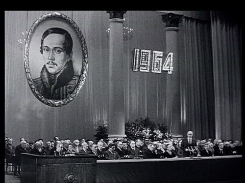 """novosti dnia"" nâ°42 october 1964. commemoration ceremony in bolshoi theatre : 150th anniversary of lermontov's birth. writers attend : vs speeches . - male likeness stock videos & royalty-free footage"