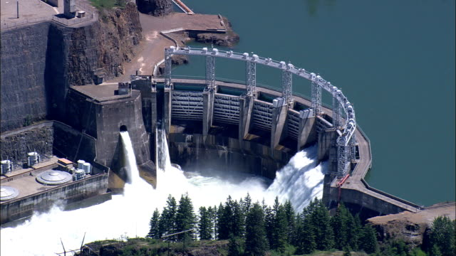 Noxon Dam On Clark Fork River  - Aerial View - Idaho, Bonner County, United States