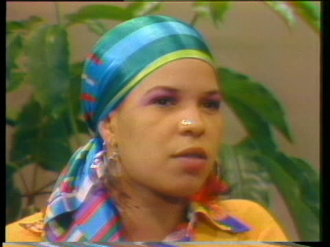 ntozake shange speaks during an interview about her choreopoem for colored girls who have considered suicide when the rainbow is enuf - suicide girls stock videos & royalty-free footage