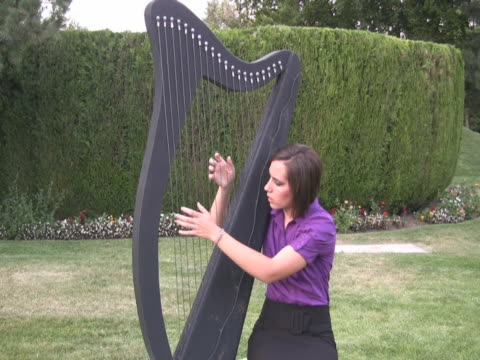 ntsc young woman playing a large harp - harp stock videos & royalty-free footage