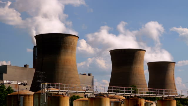 nuclear cooling towers hd - nuclear power station stock videos & royalty-free footage