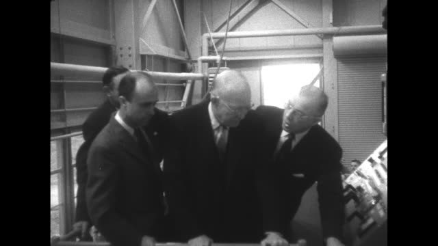 nuclear engineering professor william breazeale, dean of engineering eric walker, penn state president milton eisenhower, and the president at... - nuclear reactor stock videos & royalty-free footage