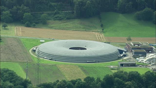 aerial nuclear facilities, wurenlingen, aargau, switzerland - atomkraftwerk stock-videos und b-roll-filmmaterial