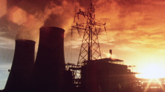 1981 montage nuclear power plant at calder hall / sellafield, england, united kingdom - nuclear power station stock videos & royalty-free footage