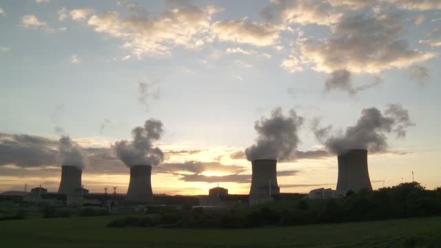 WS Nuclear Power plant at dusk at sunset / Cattenom, Lorraine, France