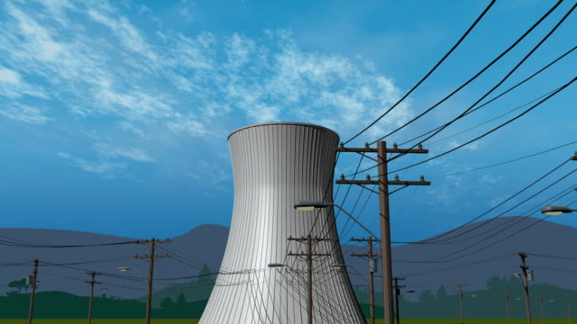 cgi ws cs zo la nuclear power plant cooling towers attached to electrical power grid - cooling tower stock videos & royalty-free footage