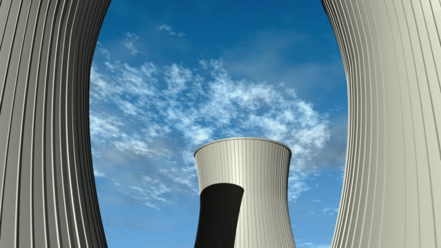 cgi ws cs zo la nuclear power plant cooling towers attached to electrical power grid - atomkraftwerk stock-videos und b-roll-filmmaterial