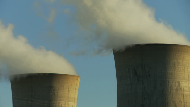 nuclear power plant double smoke stacks 05 - cooling tower stock videos & royalty-free footage