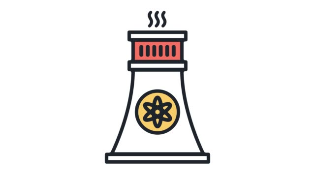 nuclear power plant flat line icon animation with alpha - line icon stock videos & royalty-free footage
