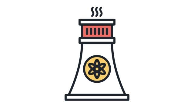 vídeos de stock, filmes e b-roll de usina nuclear linha plana ícone animação com alfa - ilustração e pintura