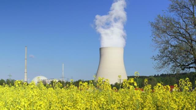 atomkraftwerk und canola field (4:2: 2 @100 mbit/s) - atomkraftwerk stock-videos und b-roll-filmmaterial