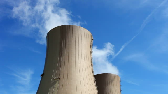 nuclear power station - close up of the chimneys - nuclear power station stock videos & royalty-free footage