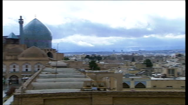 uranium enrichment continues despite un sanctions isfahan general view of isfahan including naghshi jahan square and shah mosque pan int alleyway... - uranium stock videos & royalty-free footage