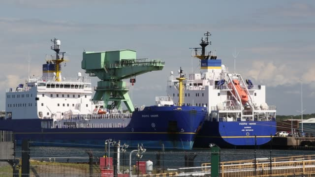 nuclear transport ships in barrow in furness cumbria uk - cargo ship stock videos & royalty-free footage