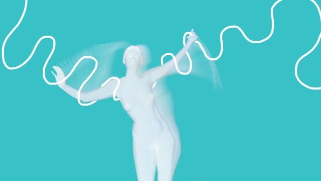 stockvideo's en b-roll-footage met naakt dansende vrouwen met tekening lijn - menselijke arm