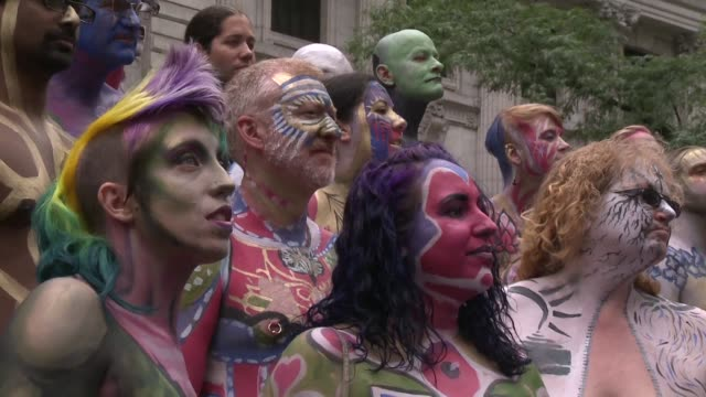 Nude models artists and hundreds of spectators attends the NYC Bodypainting Day whose theme this year is inner beauty