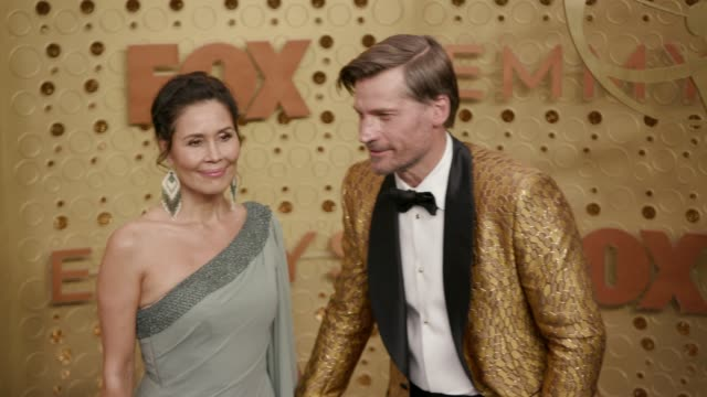 nukaaka coster-waldau and nikolaj coster-waldau at the 71st emmy awards - arrivals at microsoft theater on september 22, 2019 in los angeles,... - emmy awards stock videos & royalty-free footage
