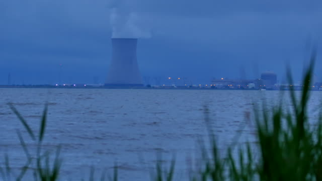 Nuke Cooling Tower At Dusk 4k