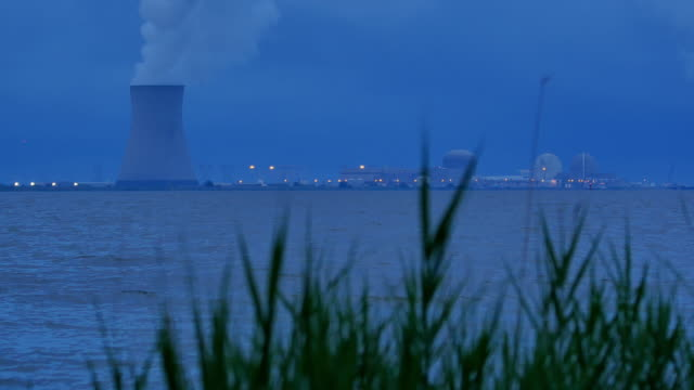 Nuke Power Cooling Tower At Dusk Mid 4k