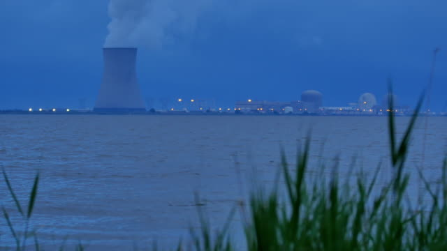 Nuke Power Cooling Tower Blue Night At Dusk Mid 4k