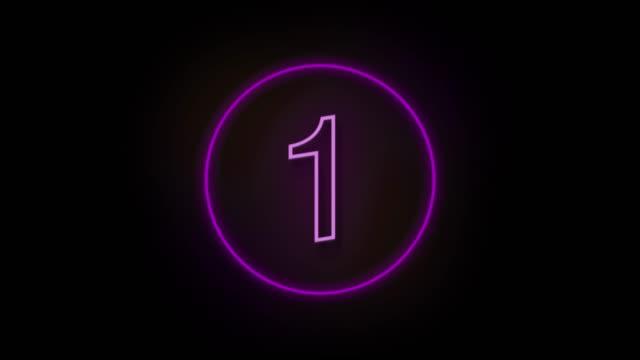 vídeos de stock, filmes e b-roll de 4k estilo de placa de neon número 1 piscando. animação de movimento numélia - número