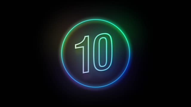 4k number 10 neon sign style flashing. number movement animation - number 10 stock videos & royalty-free footage