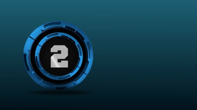vídeos de stock, filmes e b-roll de 4k número 2 no meio de círculos metálicos rotativos 3d. animação de movimento de números loopable - número