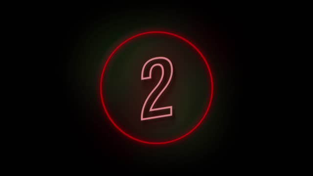 4k number 2 neon sign style flashing. number movement animation - number 2 stock videos & royalty-free footage