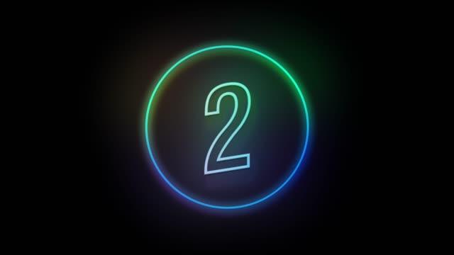 vídeos de stock, filmes e b-roll de 4k estilo de sinal de neon número 2 piscando. animação de movimento numélia - número