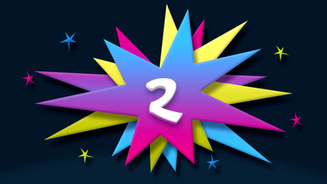 number 2 text in speech balloon with colorful stars - number 2 stock videos & royalty-free footage