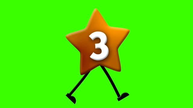 vídeos de stock e filmes b-roll de number 3 in latin alphabet and walking character on greenscreen - número 3