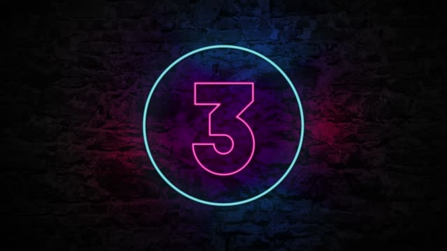 vídeos de stock e filmes b-roll de number 3 neon sign on brick background 4k animation - três objetos
