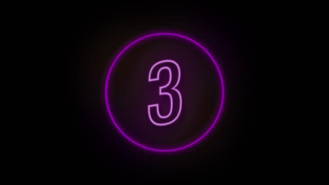 vídeos de stock e filmes b-roll de 4k number 3 neon sign style flashing. number movement animation - number 3