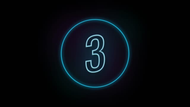 4k number 3 neon sign style flashing. number movement animation - number 3 stock videos & royalty-free footage