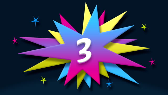 Number 3 text in speech balloon with colorful stars