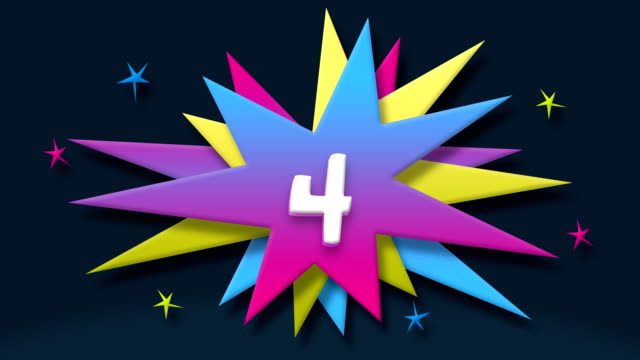 number 4 text in speech balloon with colorful stars - number 4 stock videos & royalty-free footage