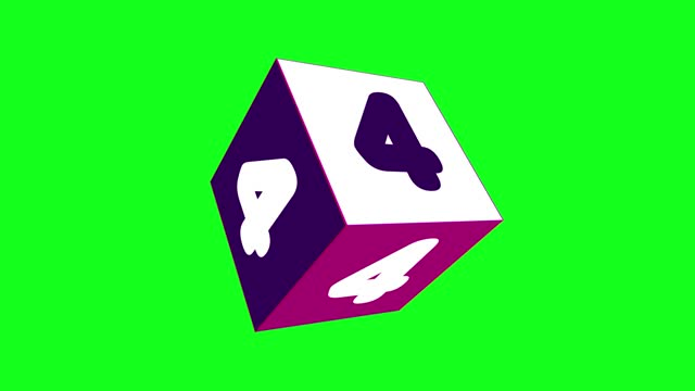 4k number 4 with 3d rotating cube. number movement animation. green screen background. loopable - number 4 stock videos & royalty-free footage