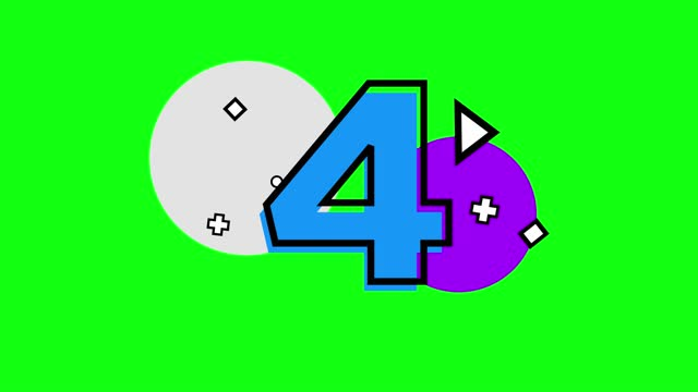 4k number 4 with small shapes. triangle, plus, circle, square. number movement animation loopable - number 4 stock videos & royalty-free footage