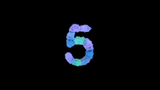 number 5 created with powder in cold colors exploding towards camera in super slow motion and closeup on black background - number 5 stock videos & royalty-free footage